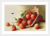 Luca-S Counted Petit Point Cross Stitch Kit Basket of Strawberries