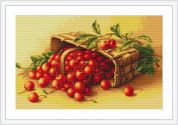 Luca-S Counted Petit Point Cross Stitch Kit Basket of Cherries