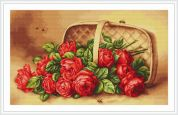 Luca-S Counted Petit Point Cross Stitch Kit Basket of Roses