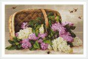 Luca-S Counted Petit Point Cross Stitch Kit Basket of Lilacs