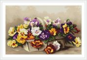 Luca-S Counted Petit Point Cross Stitch Kit Basket With Pansies