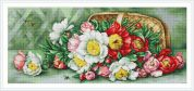 Luca-S Counted Petit Point Cross Stitch Kit Overturned Basket With Peonies