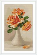Luca-S Counted Petit Point Cross Stitch Kit Peach Roses