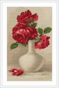 Luca-S Counted Petit Point Cross Stitch Kit Red Roses