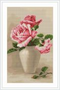 Luca-S Counted Petit Point Cross Stitch Kit Pink Roses