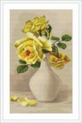 Luca-S Counted Petit Point Cross Stitch Kit Yellow Roses