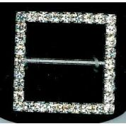 Square Diamante Buckle  Silver