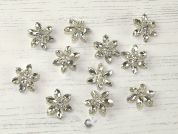 Glass Crystal Diamante Flower Buttons  Silver