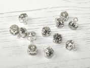 Glass Crystal Diamante Round Buttons  Silver