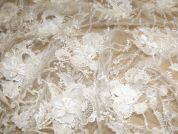 Genevieve Flower & Leaf Dimensional Couture Bridal Lace Fabric  Ivory