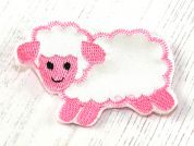Sheep Satin Motifs  Pink