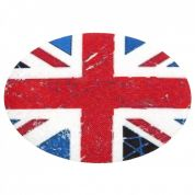 Union Jack Oval Iron On Patches  Red, White & Blue