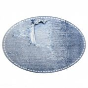 Ripped Stonewash Denim Oval Iron On Patches  Blue