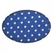 Polka Dot Denim Oval Iron On Patches  Indigo Blue