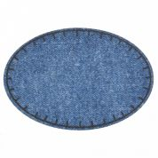 Stonewash Denim Oval Iron On Patches  Blue