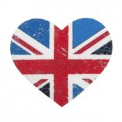 Union Jack Heart Iron On Patches  Red, White & Blue