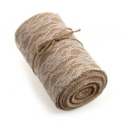 14cm Lace Trimmed Hessian Fabric Roll 4.5m  Natural