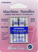 Hemline Titanium Universal Sewing Machine Needles
