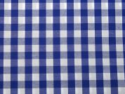 11mm Woven Gingham Check Dress Fabric  Royal Blue