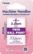 Hemline Twin Ball Point Universal Sewing Machine Needles