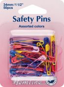 Hemline Safety Pins  Assorted Colours
