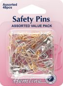 Hemline Safety Pins Value Pack  Silver & Gold