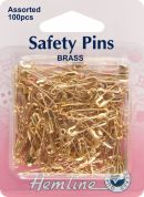 Hemline Safety Pins  Gold