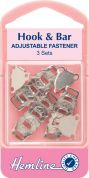 Hemline Adjustable Hook & Bar Fasteners  Silver