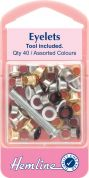 Hemline Eyelet Kit with Tool  Assorted Colours