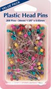 Hemline Plastic Coloured Head Sewing Pins Value Pack