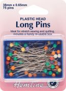 Hemline Plastic Coloured Head Long Sewing Pins