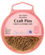 Hemline Short Brass Craft Pins