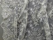 Scalloped Edge Beaded Couture Bridal Lace Fabric  Ivory