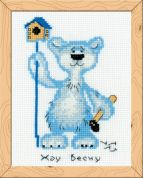 Happy Bee Cross Stitch Kits for Beginners Waiting for Spring