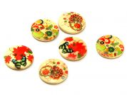 Painted Wooden Buttons  Multicoloured