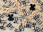 Bunny Rabbit Shaped Plaid Check Enamel Buttons