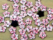 Flower Shaped Heart Print Enamel Buttons