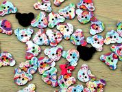 Teddy Shaped Patterned Enamel Buttons