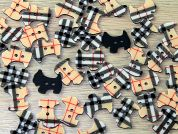 Scottie Dog Shaped Plaid Check Enamel Buttons