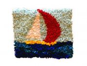 Proggy No Sew Fleece Craft Kit by Numbers Sail Boat Cushion