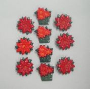 Christmas Shaped Novelty Buttons Poinsettias  Red