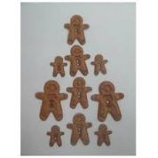 Padded Motif Applique Shapes Gingerbread Men  Brown