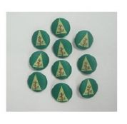 Christmas Shaped Novelty Buttons Trees  Green