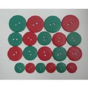 Round Matte Christmas Buttons  Red & Green