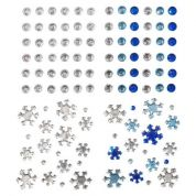 Stick-On Self Adhesive Assorted Christmas Diamantes  Blue & Silver