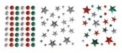 Stick-On Self Adhesive Assorted Christmas Diamantes  Red, Green & Silver
