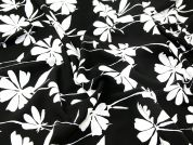 John Kaldor Floral Print Microfibre Dress Fabric  Black & Ivory