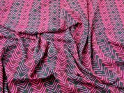 John Kaldor Stripe Print Microfibre Dress Fabric  Fuchsia & Navy