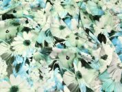 John Kaldor Floral Print Microfibre Dress Fabric  Green & Turquoise