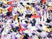 John Kaldor Floral Print Microfibre Dress Fabric  Purple & Orange